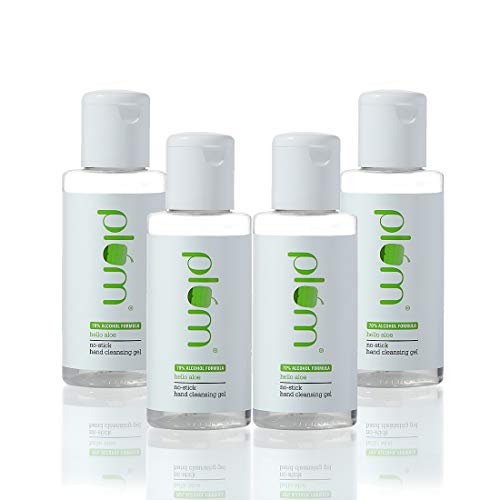 Plum Hello Aloe No-Stick Hand Cleansing Gel Sanitizer Pack of 4   For All Skin Types   Non-Sticky Hand Cleanser   Light Weight Gel   Aloe Vera Juice   100% Vegan