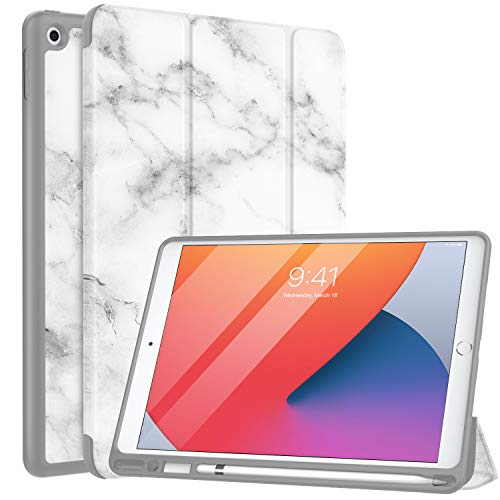 MoKo Case Fit New iPad 10.2' 2020/2019 with Apple Pencil Holder, Slim Lightweight Smart Shell Stand Cover Case Fit iPad 8th Generation 2020/iPad 7th Generation 2019,Auto Wake/Sleep,Dark Gray Marble