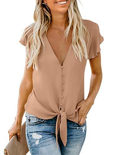 Aleumdr Damenbluse, einfarbig, lose Bluse, V-Ausschnitt, T-Shirt, Langarm, Top,...