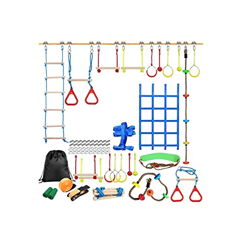 Useful Niños al Aire Libre Escalada Kit de obstáculos Línea para niños Colgando obstáculos Curso Playset Swing Traning Accesorios Convenient ( Color : C )