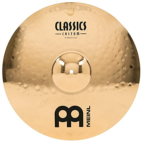 Meinl Classics Custom Brilliant 18 Zoll (45,72cm) Medium Crash Becken für Schlagzeug – Paar – B10 Bronze, brilliantes Finish (CC18MC-B)