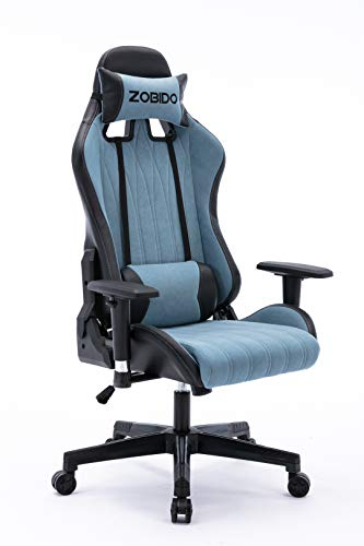 ZOBIDO Gaming Chair Office Comfy Chair High Back Computer Chair tapa PC Racing Executive Ergonomic Adjustable Swivel Task Chair with Headrest and Pillow Pouch, Esports Chair (Blue)