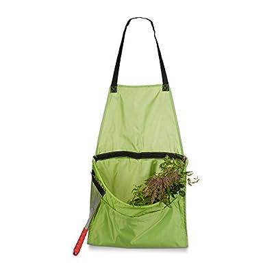 Relaxdays Ernteschürze Garten, Gartenschürze für Ernte, Sammelschürze, Größe verstellbar, für Gartenabfall Unkraut, grün