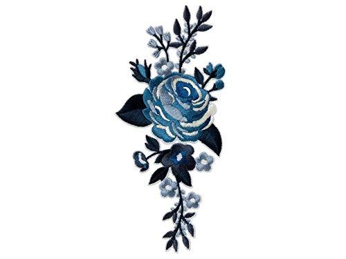 Mono-Quick Aufnäher Bügelbild Applikation zum Aufbügeln Rosen Blumen Blau 7 x 15 cm
