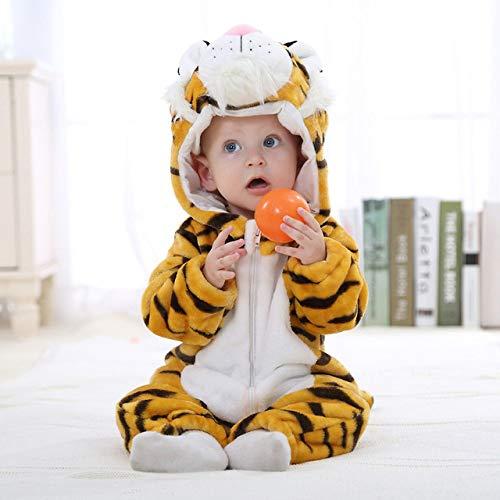 SJIUH Tuta da Bambino Vestiti del Bambino 2019 Pagliaccetto Neonato Tuta da Bambina Tuta da Neonato Abbigliamento con Cappuccio Bambino Simpatico Punto Costumi per Bambini, Tigre, Nuovo, 12 M