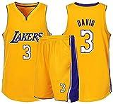 AZBYC Camiseta De Baloncesto para Hombres Camiseta De Baloncesto Lakers 3 Anthony Davis Camiseta De Baloncesto para Adultos Y Niños, Incluyendo Pantalones Cortos,Yellow-M