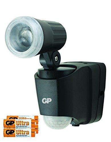 GP Safeguard buitenlamp met bewegingsmelder en schemeringssensor, werkt op batterijen, draaibare led-spot weerbestendig/waterdicht volgens IP55 voor tuin, terras, garage etc.