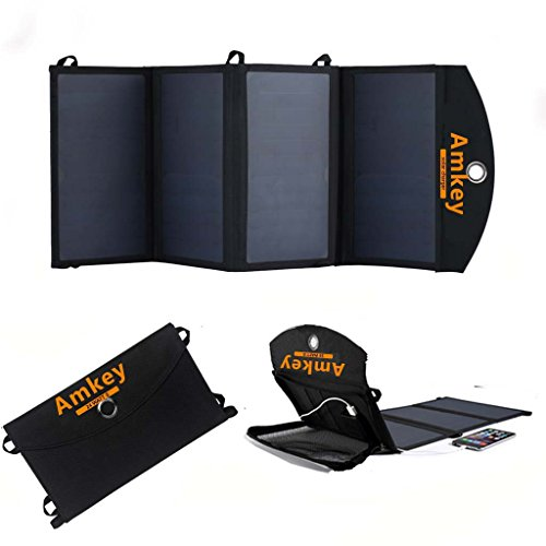 Amkey 24W Sunpower High Efficiency Solar Panel Foldable Solar Charger Power Bank 12V for Car Charger & USB for Smartphones