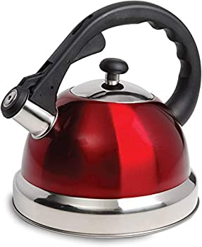 Mr Coffee Claredale Stainless Steel Whistling Tea Kettle 2.2 Quarts Red
