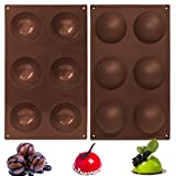 SixSun 6 Holes Half Round Silicone Mold, Baking Mold for Making Hot Chocolate Bomb, Cake, Jelly, Dome Mousse, Creative DIY Handmad Mold for Kitchen Cakehouse (2Pcs, Dark Brown)