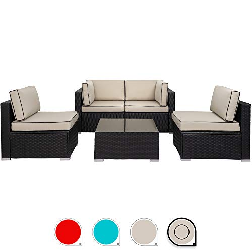 Walsunny 5pcs Patio Outdoor Furniture Sets,Low Back All-Weather Rattan Sectional Sofa with Tea Table&Washable Couch Cushions (Black Rattan) (Khaki/Black)