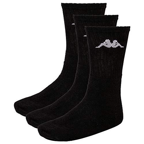 Kappa Sonotu 3 - Calcetines deportivos unisex (3 unidades), diseño retro, Unisex adulto, Calcetines, 704304, Negro (005 Black), 35 - 38