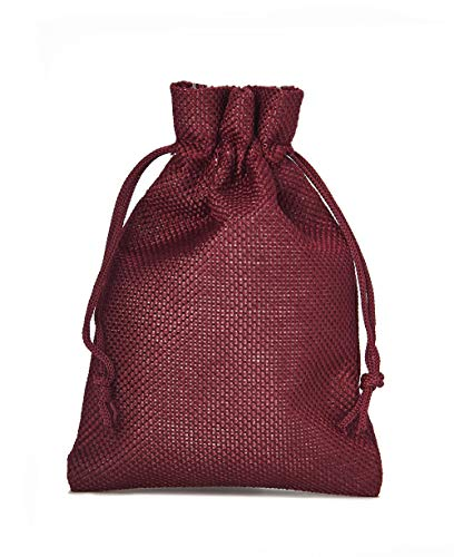12 Sacchetti di stoffa in stile iuta, misura 20x12 cm, sacchetti regalo, sacchetti per calendario dell' avvento (bordeaux)