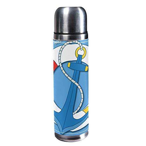 MUMIMI Vakuum-isolierte Edelstahl-Wasserflasche für Sport, Kaffee, Reise, Thermoskanne, echtes Leder, BPA-frei, Anker und Rettungsring am Meer