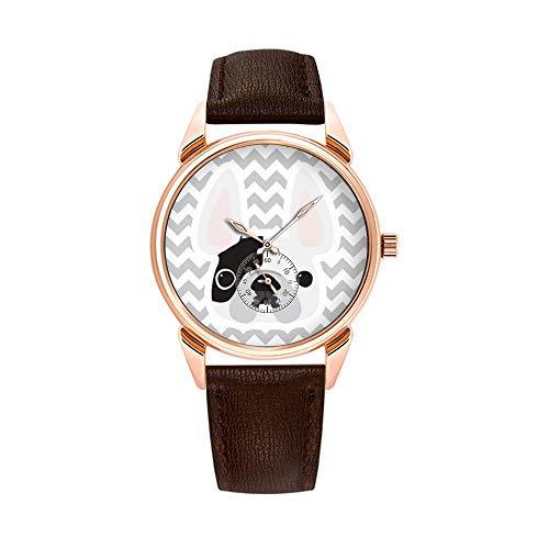 Fashion Waterproof Watch Minimalist Personality Pattern Watch - 461.White Pied Frenchie Watch
