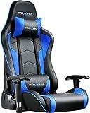 GTRACING ゲーミングチェア 座椅子 180度リクライニング ハイバック 可動肘 ヘッドレスト クッション付き 一年無償部品交換保証 青 (89-BLUE)