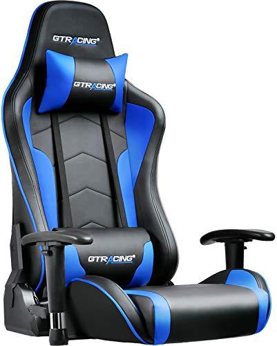 GTRACING ゲーミングチェア 座椅子 180度リクライニング ハイバック 可動肘 ヘッドレスト クッション付き 青 89-BLUE