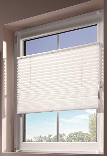 mydeco® 75x130 cm [BxH] in weiß - Plissee Jalousie ohne bohren, Rollo für innen incl. Klemmträger (Klemmfix) - Sonnenschutz, Sichtschutz für Fenster