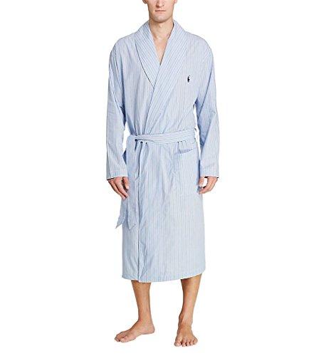 Polo Ralph Lauren Men's Birdseye 100% Cotton Woven Robe R171 L/XL Andrew Stripe/Navy