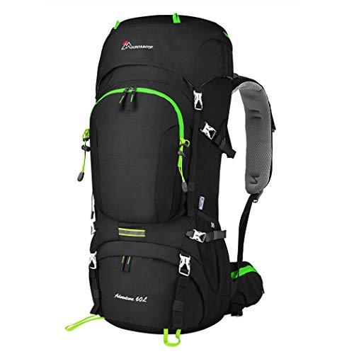 MOUNTAINTOP 50/60L Mochila de Senderismo Gran Capacidad Mochila de Montaña Impermeable para Viaje Camping Deporte al Aire Libre (Negro-60L)
