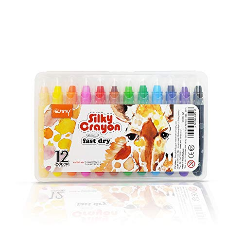 Degas Silky Gel Crayons for Toddlers - 12 Colors, Washable Non Toxic Crayons for Kids, Oil Pastels, Easy to Hold Twistable Crayon Sets, Safe for Kids and Children, Portable in a Sturdy Case