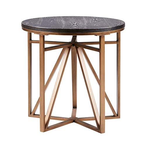 Madison Park Madison Accent Tables – Metal, Wood Side Table – Black, Gold, Modern Style End Tables – 1 Piece Antique Bronze Small Tables For Living Room