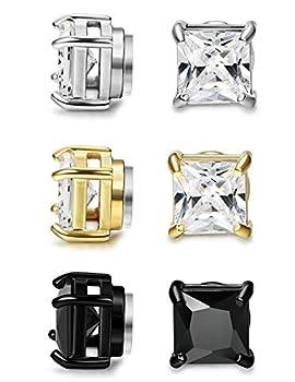 FIBO STEEL 3 Pairs Stainless Steel Magnetic Earrings for Men Women CZ Studs Earrings,6MM