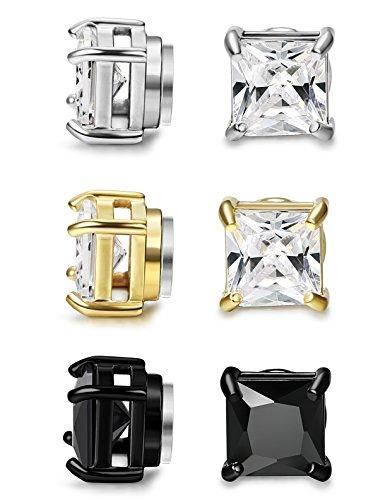 FIBO STEEL 3 Pairs Stainless Steel Magnetic Earrings for Men Women CZ Studs Earrings,5MM