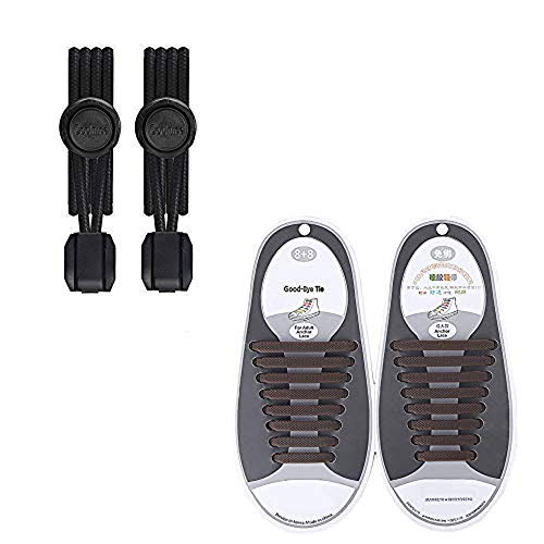 JimmyPet no tie shoelaces für Kinder und Erwachsene, Elastische Schnürsenkel mit Schnellverschluss, 2 pack leazy flat schnürsenkel (12pcs für Kinder,