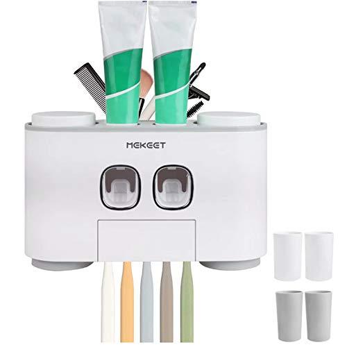 MEKEET Wand-Zahnpastaspender, Wand-Zahnpasta-Quetscher für Kinder und Erwachsene, elektrischer Zahnbürstenhalter, Nicht poröser Zahnbürstenhalter für Badezimmer, mit 4 Tassen Wand-Zahnbürstenhalter