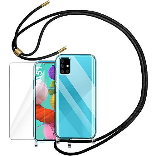 YIRSUR Handykette Handyhülle + Panzerglas Schutzfolie für Samsung Galaxy A51 Hülle mit Kordel zum Umhängen Necklace Hülle mit Band Schutzhülle Transparent Silikon Acryl Hülle für Samsung Galaxy A51