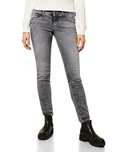 Street One Damen 373818 Style Crissi Casual Fit Low Waist Jeans, Grey Heavy Random Bleach, W30/L30