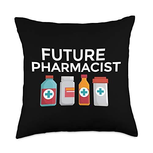 Funny Pharmacist Gift Tees by K Future Pharmacist PharmD Student White Coat Ceremony Gift Throw Pillow, 18x18, Multicolor