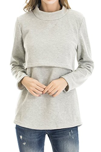 Smallshow Women's Fleece Nursing Tops Shirts Long Sleeve Breastfeeding Clothes Large Light Grey