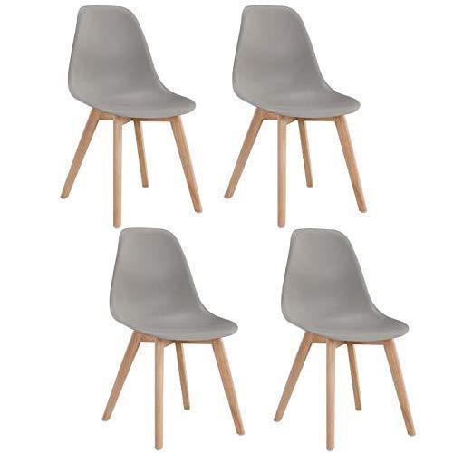 Set di 4 sedie moderne in stile nordico con schienale e gambe in legno massello, ideali per casa,...