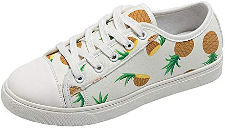 HOESCZS Frühlings-Neue Frische Frische Frische Ananas-Weiße Schuhe-Weibliche Flache Studenten-Segeltuch-Schuhe College-Wind-Wilde Beiläufige Schuhe  32a9e3