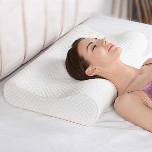 AM AEROMAX Almohada ortopédica de espuma de memoria para dormir de lado, almohada cervical ergonómica para dormir de lado, espalda y estómago, incluye fundas de almohada gratis.