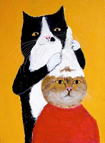 Malen Nach Zahlen Für Kinder Erwachsene Anfänger DIY Ölgemälde Kits Acryl Auf Leinwand Frisur ist Katze Modernes Wandbild Home Decoration Festliches Geschenk Rahmenlos 50x60cm