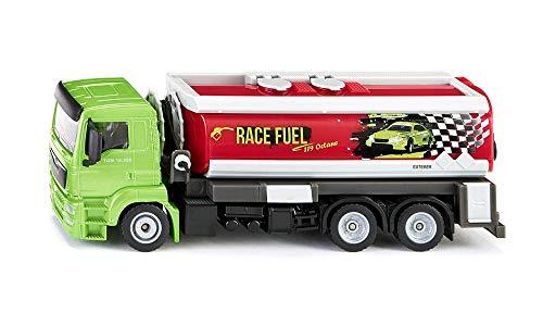 SIKU 2716, LKW mit Tankwagenaufbau, 1:50, Metall/Kunststoff, Grün/Rot, Ausrollbarer Tankschlauch