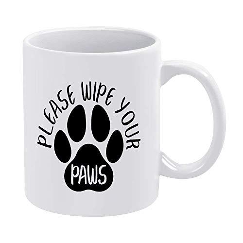 N\A Taza de café de 11 oz, Tazas de cerámica Blanca, por Favor, limpie Sus Patas Taza de té para la Oficina y el hogar