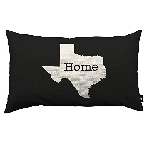 HOSNYE Texas State Outline Throw Pillow Cover White on Black with Home Linen Fabric for Couch Bed Sofa Car Waist Cushion Cover 30,5 x 50,8 cm Pillow Case