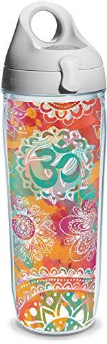 Tervis 1204543 Yoga Om Pattern Wrap Botella de agua con tapa de baño de agua gris, 24 onzas, transparente