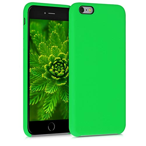 kwmobile TPU Silicone Case Compatible with Apple iPhone 6 Plus / 6S Plus - Case Slim Protective Phone Cover with Soft Finish - Lime Green