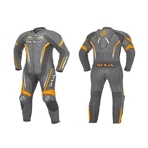 SHUA Trajes de cuero INFINITY Monos de piel moto hombres una pieza para racing (Negro/Naranja, 58)