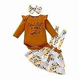 Conjunto de falda de tirantes para niña pequeña de algodón Body de manga larga Tops Vestido de tutú floral Diadema Ropa floral de otoño Caqui 90 6-12 meses