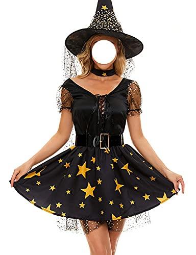 Disfraz de bruja para mujer con estampado de estrellas de malla de bruja vestido de Halloween Navidad Pascua fiesta traje conjunto completo-negro_M