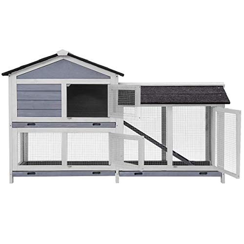 Rabbit Hutch Indoor and Outdoor,JULYFOX 63 inch Large Chicken Coop Fir Wood 2 Story Bunny Cage with Run Removable Tray Easy Clean Poultry House for Small Animals Gray and White