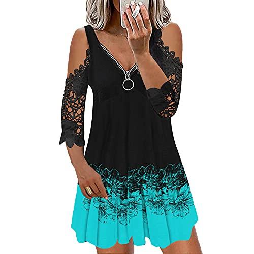 AZEWO Robe Femme été,Robe à Bretelles Femme Jupe Courte Casual Robe de Plage Col V Chic Robe Printemps Ete Casual, Robe à glissière Sexy à la Mode pour Femmes à Manches Courtes et à Encolure en V