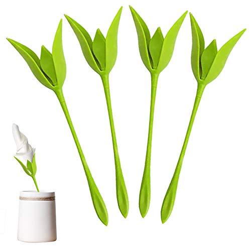 Aocar Serviettenhalter Blume, Bloom Grünes Blatt Serviettenmappe für Party Hochzeit Abendessen Tischdekoration (4 - Stück)