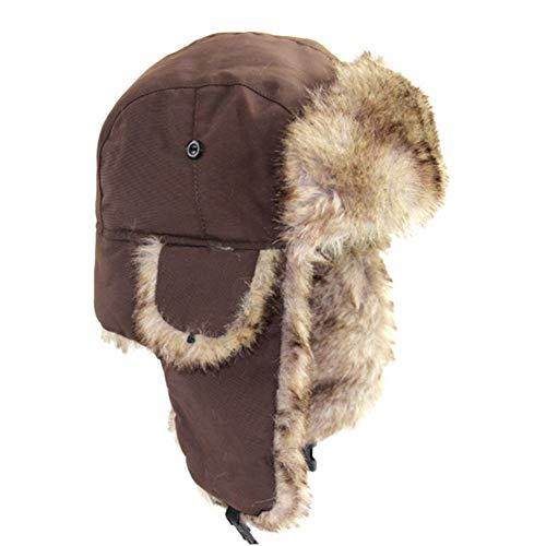 Gorro de invierno unisex con orejeras de piel sintética, marrón
